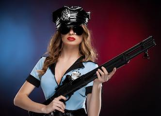 beautiful waitress dressed as police women for kidnap the buck perth
