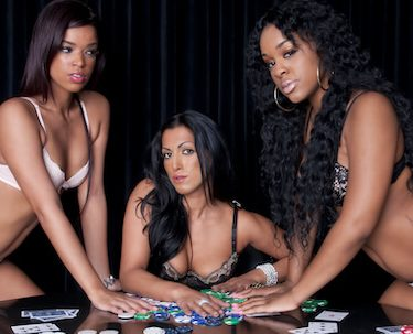 three beautiful bucks waitresses playing poker