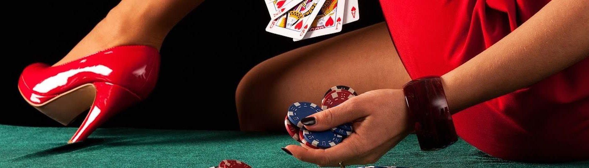 beautiful bucks waitress playing poker