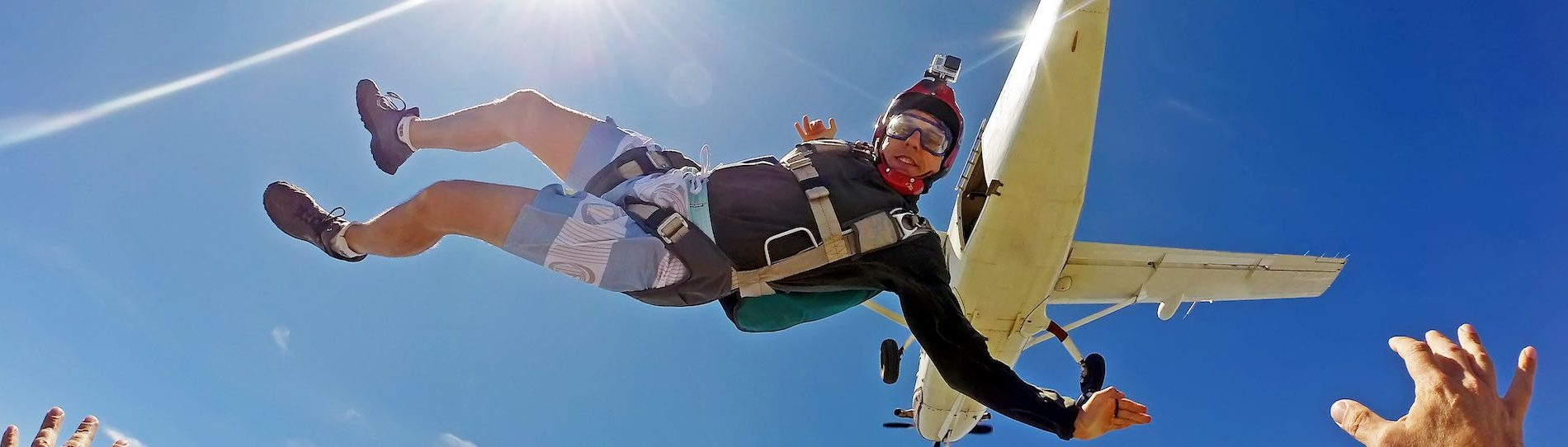 buck skydiving with go-pro camera