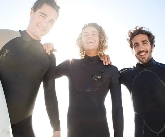 bucks group surfing in byron bay