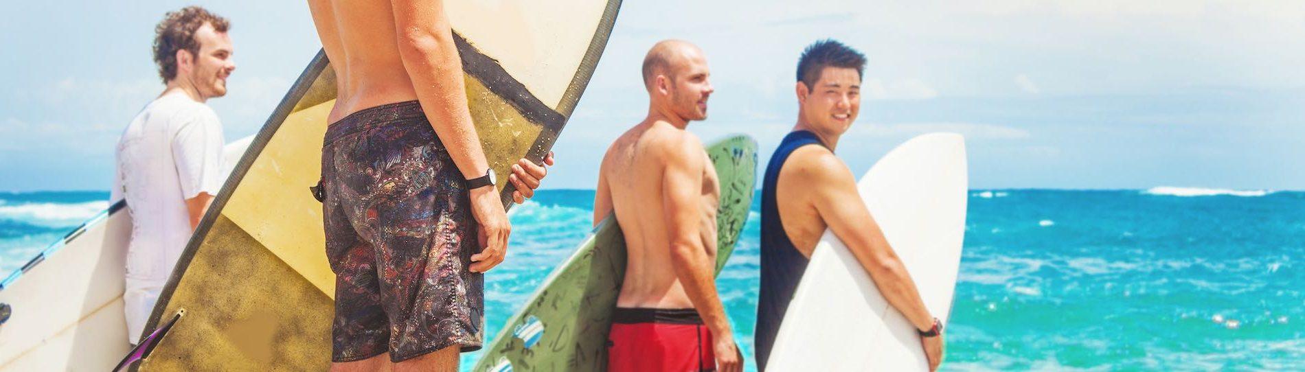group of bucks surfing