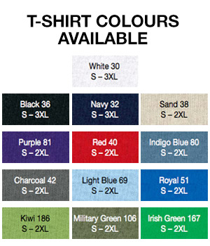 bucks t-shirt colours and size options