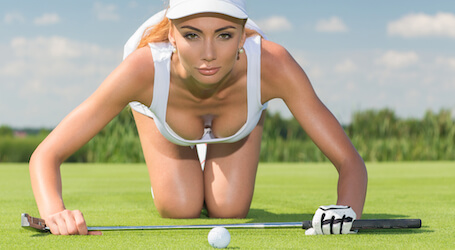beautiful bucks waitress playing golf