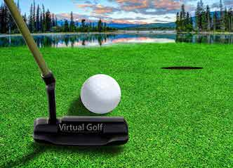 buck playing virtual golf in byron bay