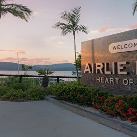 airlie beach entrance plaque welcome to airlie beach