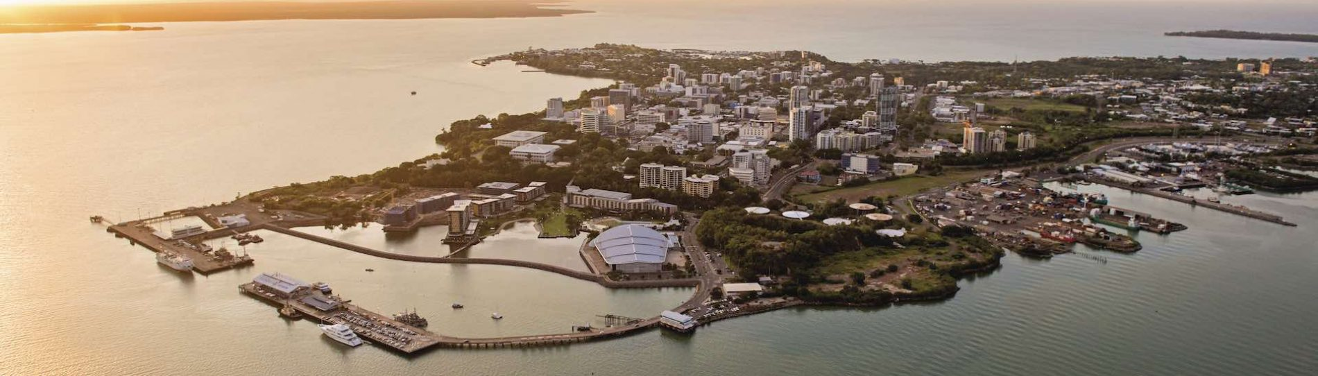 beautiful aerial photo of darwin city with water surrounds