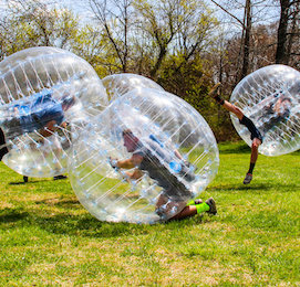 bucks party playing bubble soccer