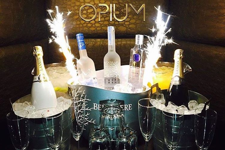 bottle service at opium nightclub