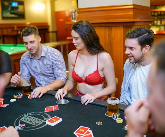 bucks party playing poker