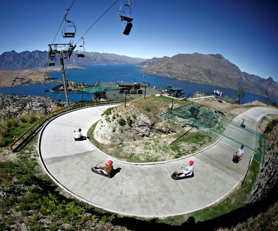 stag party riding luge in queenstown