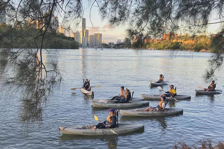 people kayaking in brisbane