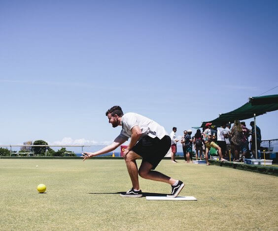 bucks playing barefoot bowls in Taupo