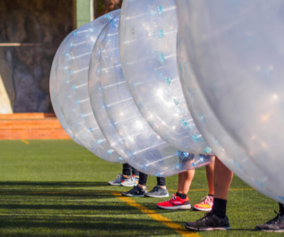 bucks playing outdoor bubble soccer taupo