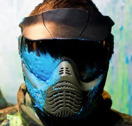 paintball guy with mask with paint